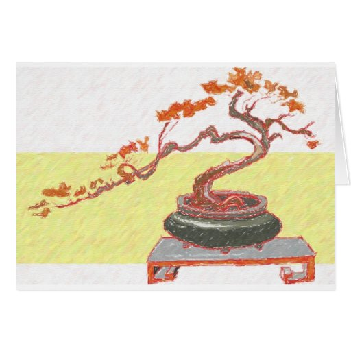 Saludos rojos de los bonsais felicitacion