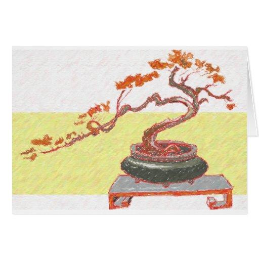 Saludos rojos de los bonsais tarjeta de felicitación