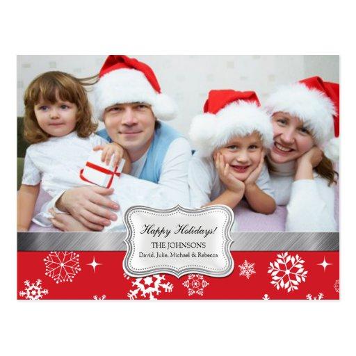 Saludos rojos y blancos de la foto del navidad de  tarjetas postales