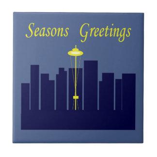 Saludos Seattle de las estaciones Azulejo Cuadrado Pequeño
