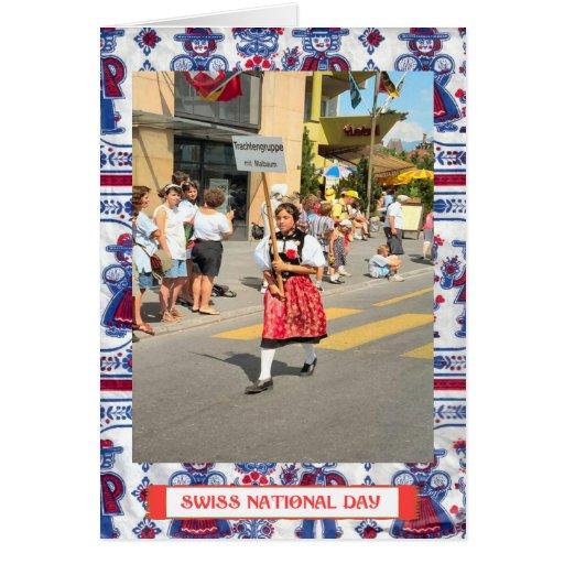 Saludos suizos del día nacional felicitacion