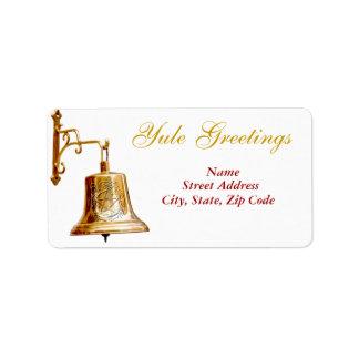 Saludos y Bell de oro - etiqueta de envío #1 de