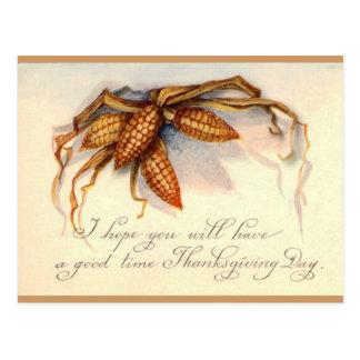 Saludos y maíz de la acción de gracias del vintage postal