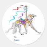 Saluki Carousel White Round Sticker