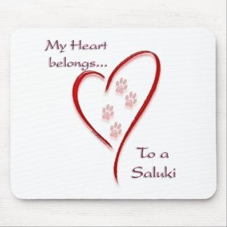 Saluki Heart Belongs Mouse Pad