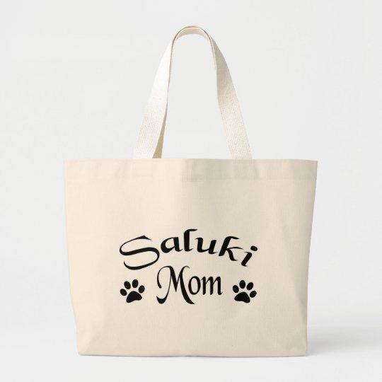Saluki Mom (Fancy Text) Large Tote Bag