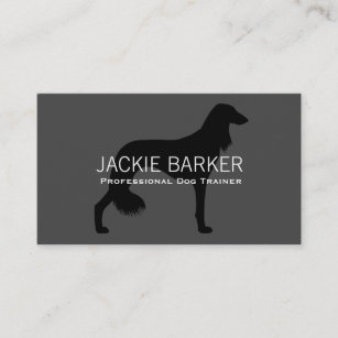 Saluki Silhouette Black on Grey Business Card