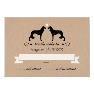Saluki Silhouettes Wedding Reply RSVP Card