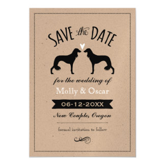 Saluki Silhouettes Wedding Save the Date Magnetic Card