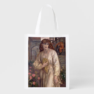 Salutation of Beatrice by Dante Gabriel Rossetti Grocery Bag