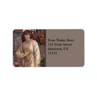 Salutation of Beatrice by Dante Gabriel Rossetti Label