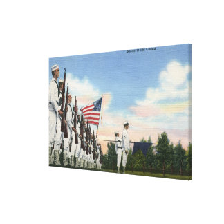Salute to the Colors Formation - US Navy Stretched Canvas Print