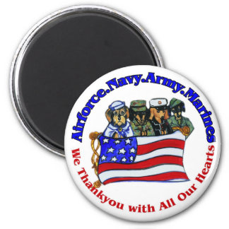 Salute to Troops 2 Inch Round Magnet