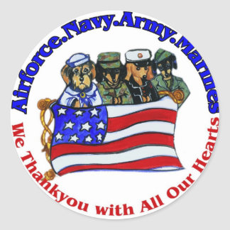 Salute to Troops Classic Round Sticker