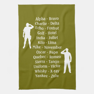 Saluting Army Soldiers Phonetic Alphabet Lesson Towels