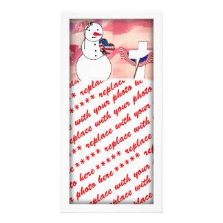 Saluting Snowman for Memorial Day Custom Photo Card