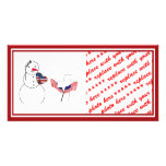 Saluting Snowman for Memorial Day Customized Photo Card