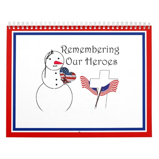 Saluting Snowman With American Flag Heart Calendars