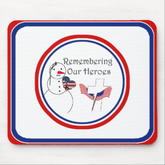 Saluting Snowman With American Flag Heart Mouse Pad