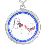 Saluting Snowman With American Flag Heart Custom Jewelry