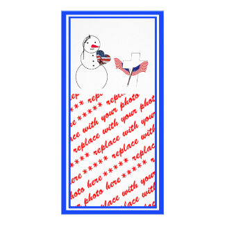 Saluting Snowman With American Flag Heart Photo Cards