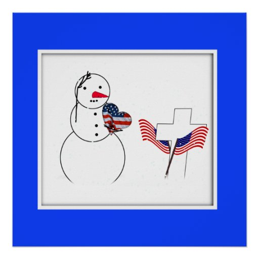 Saluting Snowman With American Flag Heart Posters