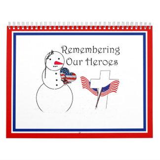 Saluting Snowman With American Flag Heart Calendar