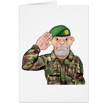 Saluting Soldier Cartoon Card