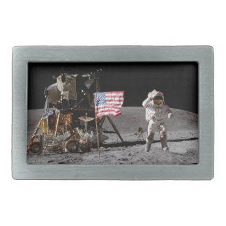 Saluting The Flag On The Moon Rectangular Belt Buckle