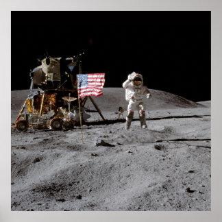Saluting The U.S. Flag On The Moon Print