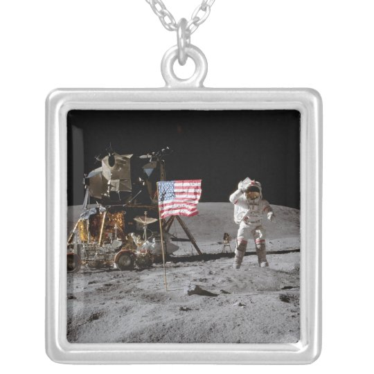 Saluting The U.S. Flag On The Moon Silver Plated Necklace