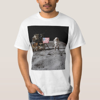 Saluting The U.S. Flag On The Moon T-Shirt