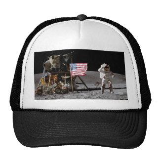 Saluting The U.S. Flag On The Moon Trucker Hat