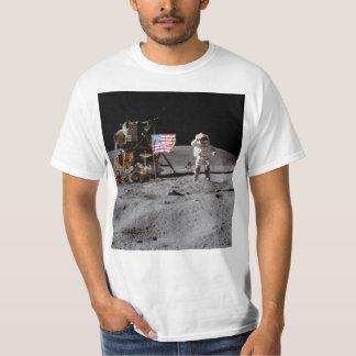 Saluting The U.S. Flag On The Moon Tshirts