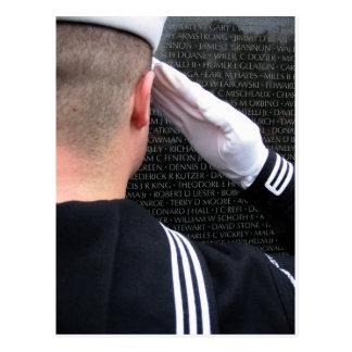 Saluting the Vietnam Memorial Wall Postcard