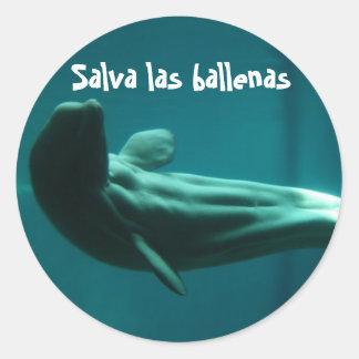 Salva las Ballenas Classic Round Sticker