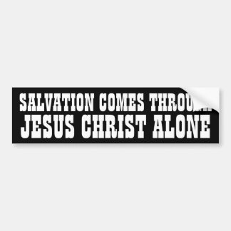 Salvación a través de Jesús Pegatina De Parachoque