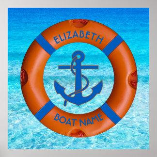 Salvación con el dueño del ancla y del barco o del póster