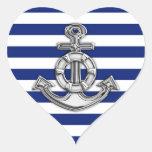 Salvación del cromo en rayas náuticas pegatina en forma de corazón