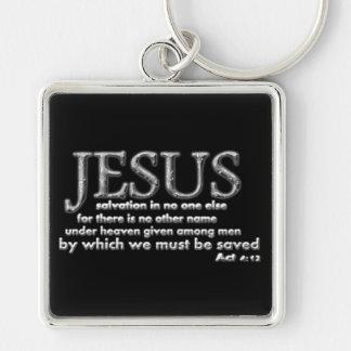 Salvación en JESÚS solamente Llavero Cuadrado Plateado