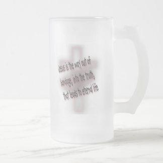 Salvación en pocas palabras taza de cristal