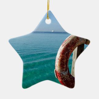 salvación tropical adorno navideño de cerámica en forma de estrella