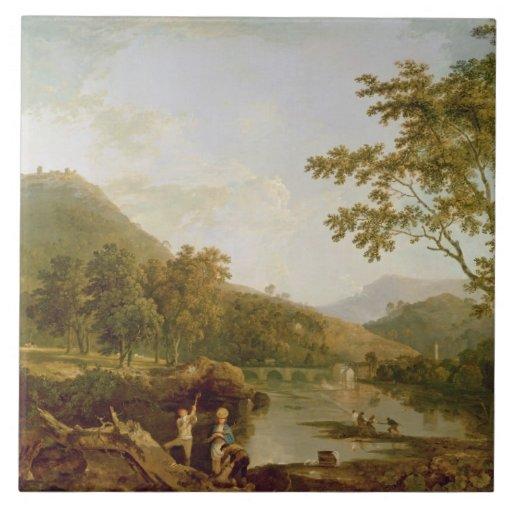 Salvado del Dinas de Llangollen, 1770-71 (aceite e Azulejo Cuadrado Grande