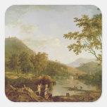 Salvado del Dinas de Llangollen, 1770-71 (aceite Pegatina Cuadrada