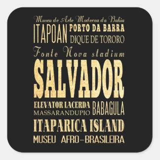 Salvador City of Brazil Typography Art Square Sticker