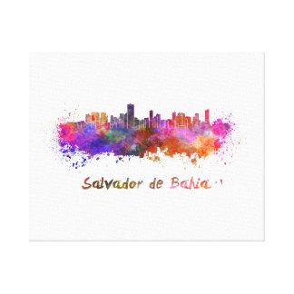 Salvador de Bahia skyline in watercolor Canvas Print