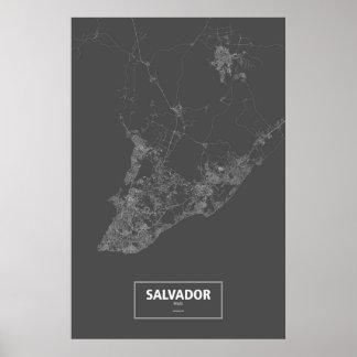 Salvador, el Brasil (blanco en negro) Póster