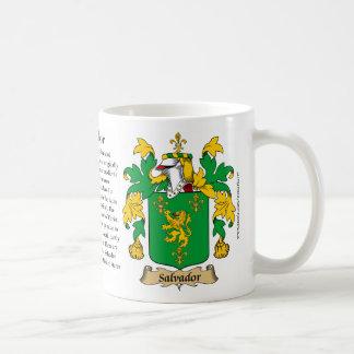 Salvador, el origen, el significado y el escudo taza