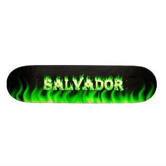 Salvador skateboard green fire and flames design.