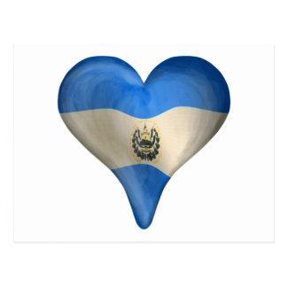 Salvadoran Flag In A Heart Postcard